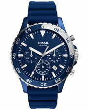 Fossil Men's Chronograph Crewmaster Blue Silicone Strap Watch 46mm CH3054