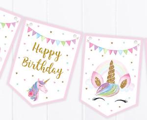 Unicorn Happy Birthday Bunting  - Children's Party Decoration Banner / Garland