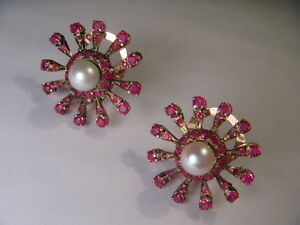 Magnificent Antique Estate 14K Rose Pink Gold Ruby Pearl Clip On Earrings