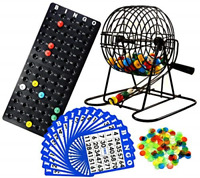 Regal Games Deluxe Bingo Cage Game Set - 8 Inch Metal Cage with Plastic 75 Bingo