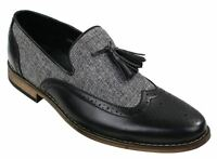 Mens Tweed & Leather Loafers Driving Shoes Slip On Tassle Design Vintage Retro