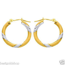 "1"" Inside Out Diamond Cut Hoop Earrings REAL 14K Yellow White Two-Tone Gold"