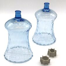 """2 HOMCO Glass Blue Pegged Votive Sconce Cups with Rubber Adapters 5"""" Delicate"""