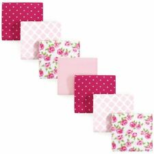 Hudson Baby Girl Flannel Receiving Blanket, 7-Pack, Rose