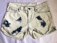 BCBG Bleached Denim The Clayton Cuffed Cropped Skinny Shorts Sze 27 MSRP $78-New