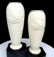 "LENOX CHINA ROSEBUD COLLECTION EMBOSSED ROSES 2 PIECE 7 3/8"" VASES"