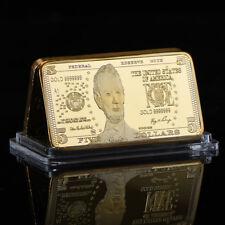 WR United States $5 Five Dollar 999 Fine Gold Clad Art Bar Bullion Holiday Gifts