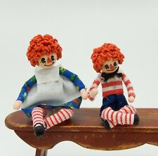 Vintage Clay Raggedy Ann & Andy Toy Dolls Artisan Dollhouse Miniature 1:12
