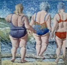 ORIGINAL 10x10 oil painting sea swimmers chubby beach figure  impressionist art