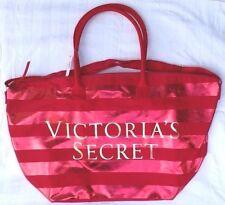 VICTORIAS SECRET RED STRIPED CANVAS XL TOTE ZIPPER WEEKENDER SHOPPING BEACH BAG