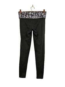 PINK Victoria's Secret VS Black Yoga Logo Sequin Legging Pants S