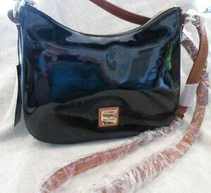 Dooney & Bourke Small Black Patent Leather Kiley Hobo Shoulder Bag NWT MZ