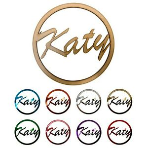 Personalised Wooden Name Sign Plaque Ring Hoop Acrylic | 10cm-45cm | 9 FONTS!