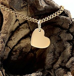 9ct 9k Yellow Gold Solid 9mm Heart Pendant Engravable Polished Finish Small