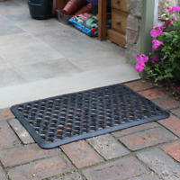 Entrance Door Mat Outdoor Use Outside House Rubber 36 x 61cm Robusta Black