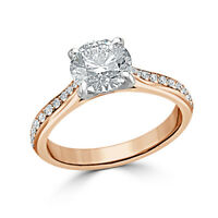 1.80 Ct VVS1 Round Solitaire Diamond Engagement Ring 18K Solid Rose Gold Rings