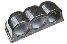 """52mm 2 1/16"""" automobile Pod Foro Mount Triple Gauge Holder Cup effetto in fibra di carbonio"""
