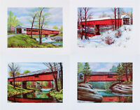Vintage SET FOUR Covered Bridge ART PRINTS Parke County INDIANA W Harold Hancock
