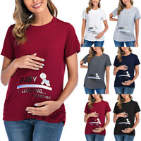Lady Maternity Cute Funny Baby Print Short Sleeve T-Shirt Pregnant Clothes Tops