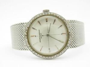 Baume Mercier 14k White Gold & Diamonds Vintage Estate Mesh Design Watch 36.7 GR