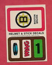 1979-80 TOPPS BOSTON BRUINS HELMET AND STICK DECALS INSERT CARD