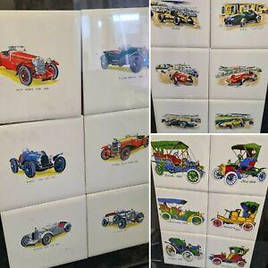 Vintage Car Ceramic Tiles various designs including Bugatti, Aston Martin, Lotus