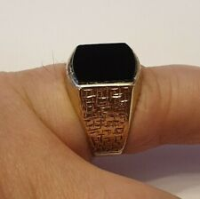 Gold Men's Seal Ring Onyx Size 62 Top
