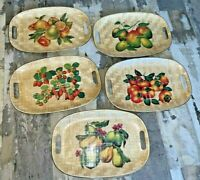 VINTAGE lot  5  Retro Basket weave TV Bed Lap Serving Tray Fruit design x-large