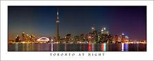 Poster Toronto Ontario Skyline Night Panoramic Fine Art Print CN Tower Skydome