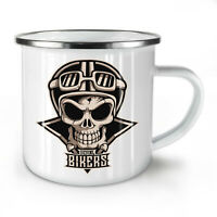 Biker Skull NEW Enamel Tea Mug 10 oz | Wellcoda