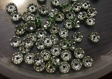 Vintage Czech Silver Lt Green Glass Rhinestone Rondell Stack Layer Bead Lot