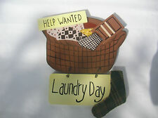 WOODEN HELP WANTED LAUNDRY WALL SIGN PLAQUE