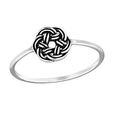 TJS 925 Sterling Silver Finger Ring Size 8 Round Celtic Knot Fine Jewellery