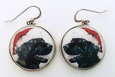 Santa Black Labrador Retriever Christmas Original Art Earrings
