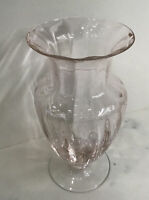 """Vintage Empoli Italy Pink Optic Crystal Glass Vase 9 1/2"""" Tall 5"""" Wide"""