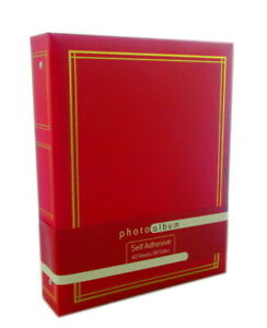 Red Ringbinder Self Adhesive Photo Album 40 Sheets/80 Sides Stores Up To 160 6x4