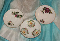 Vintage Lot of 3 Regency Bone China Saucers Made in England Roses Red Yellow