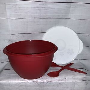New Tupperware 40 cup 10L Maxi Salad Bowl Red w/ White Lid & Serving Forks 6583