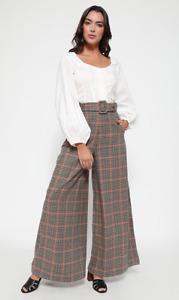 Lindy Bop 'Adonia' Vintage 1930s Rustic Check Tweed Wide Leg Trousers BNWT