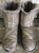 GENUINE UGG AUSTRALIA BAILEY BOW SHORT BOOTS Youth Size 4 Women 6 Bling Metallic