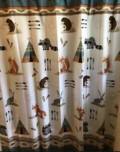 """Mainstays Kids Fabric Shower Curtain 70""""x72"""" """"Woodland Creatures"""" Cabin Rustic"""