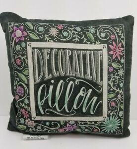 """Black Floral Decorative Pillow 10x10 """"Decorative Pillow """""""
