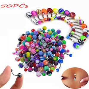 50PCs/set Belly Button Navel Ring Bar Bars Body Piercing Jewellery Rings Makeup