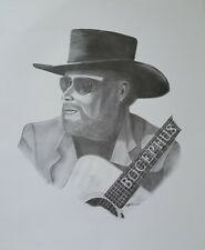 Hank Williams Black White Pencil Print Art Drawing Picture Signed Billy Gordon