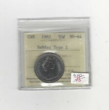 1982 Type #2, SmBds ICCS Graded Canadian ¢50 Cent, **MS-64**
