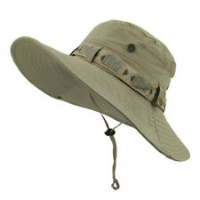 Outdoor Wide Brim Boonie Cap Sun Hat Fit Fishing Climbing Adjustable 2 Colors