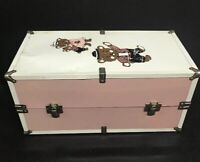 "Vintage Metal Doll Carry Case Trunk Fits 21"" Dolls Teddy Bear Motif Pink White"