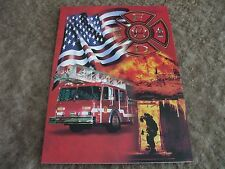"""6 Fire truck and flag note cards 7""""x5"""" by tree free greetings"""