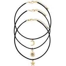 3pcs Retro Charm Ladies Gold Star Moon Sun Pendan Black Cord Choker Necklace