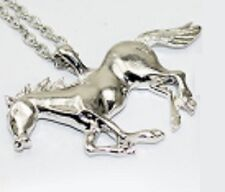 """Silver Tone Horse Pendant with 25"""" Long Link Chain Necklace UK SELLER slv P15"""